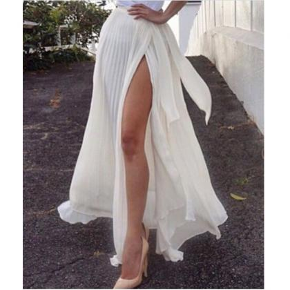 White Chiffon Crushed Split Long Sk..