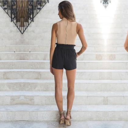 High Neck Cut Out V-neck Short Crop..