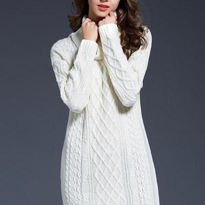 Long Sleeves High Neck Pure Color L..