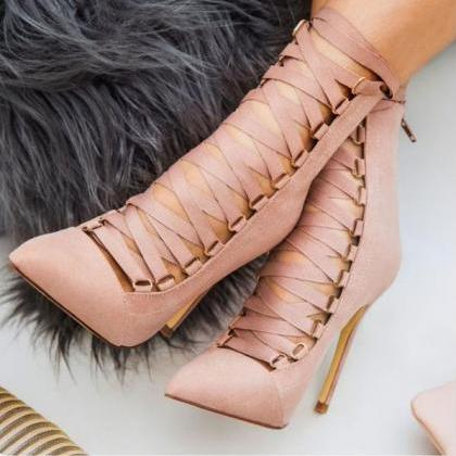 Suede Pointed-Toe Lace-Up Stiletto ..