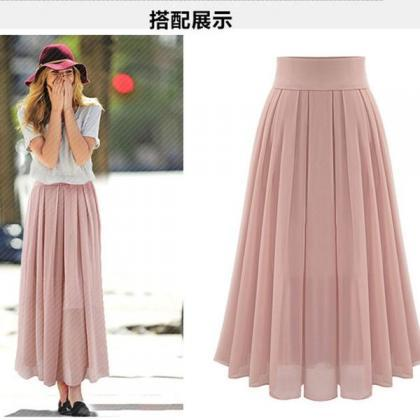 High Waist Pure Color Loose Long Ch..