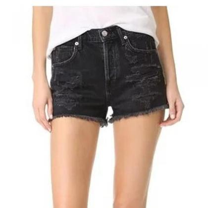 Retro Hole High Waist Denim Rough S..