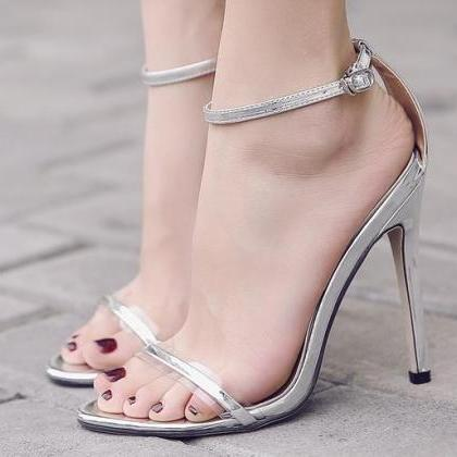 Open-Toe Transparent Thin Ankle Str..