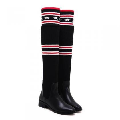 Pointed Toe Sock Over-knee Length F..