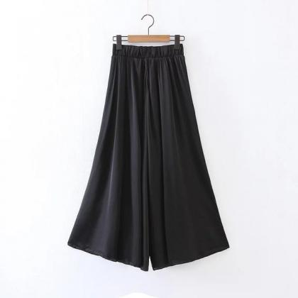 Middle Elastic Waist Solid Color Lo..