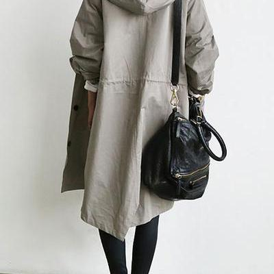 Solid Color Button Loose Long Hoode..