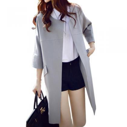 Pure Color 3/4 Sleeves Loose Scoop ..
