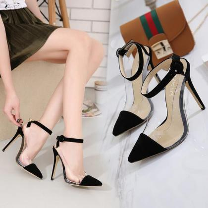 Pointed Toe Ankle Wrap Transparent ..