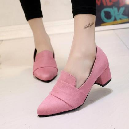 Pointed Toe Low Cut Solid Color Chu..