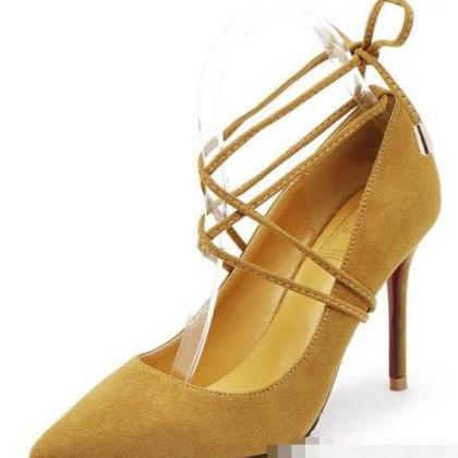 Pointed Toe Ankle Lace Up Suede Sti..