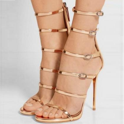 Metallic Open-Toe High Heel Sandals..