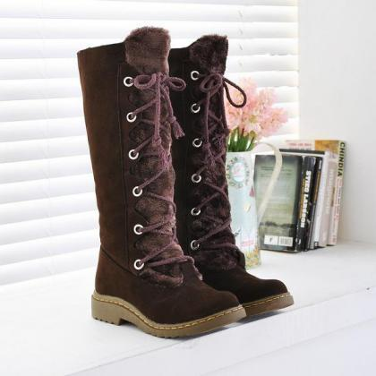 Lace Up Round Toe Flat Long Snow Bo..