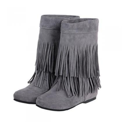 Solid Color Round Toe Tassels Insid..