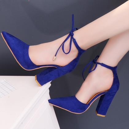 Faux Suede Pointed-Toe Tie Front Bl..