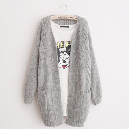 V-neck Knit Cable Pockets Pure Colo..