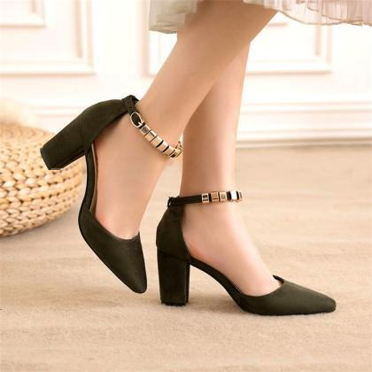 Beadings Ankle Wrap Pointed Toe Low..