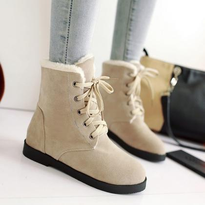 Warm Suede Round Toe Lace Up Short ..