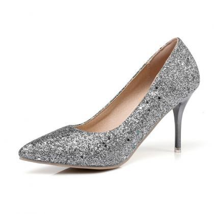 Glitter Pointed-Toe High Heel Stile..