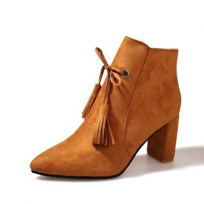Tassels Side Zipper Pointed Toe Chu..