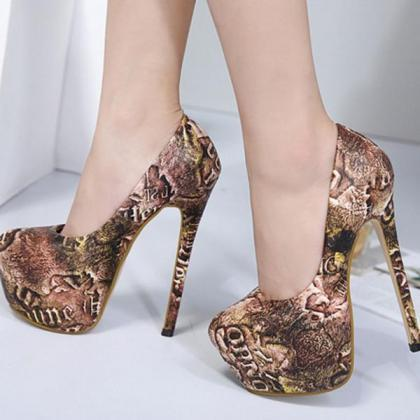Print Round Toe Low Cut Platform Su..