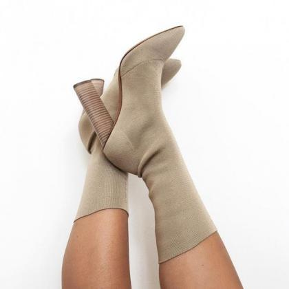 Faux Suede Pointed-Toe Chunky Heel ..