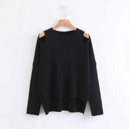 Knitted Cold Shoulder Long Sleeves ..