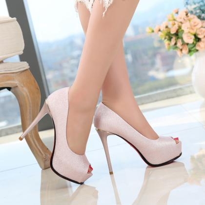 Pure Color Peep Toe Platform Stilet..