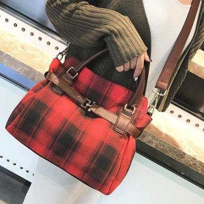 Well Match Plaid Pattern Women Satc..