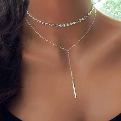 Metal Bar Lasso Layered Necklace