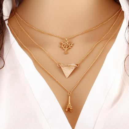 Contracted Multilayer Metal Necklac..