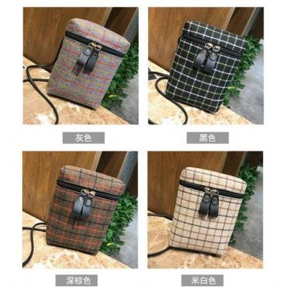 Casual Plaid Zipper Crossbody Bag