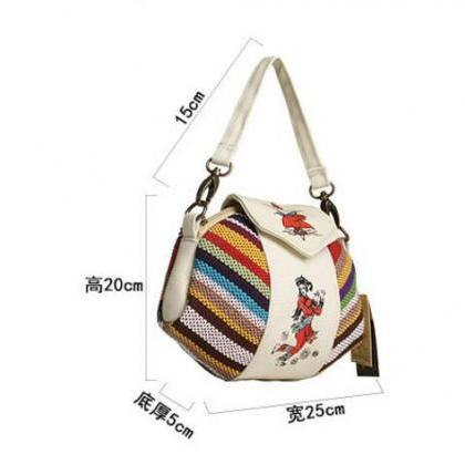 Minority Style Stripe Canvas Crossb..