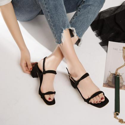 Simple Style Chunky Heels Square Op..
