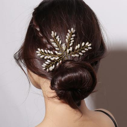 Handmade Pearl Leaf Hair Accessorie..