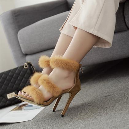 Rabbit Fur Open Toe Stiletto High H..