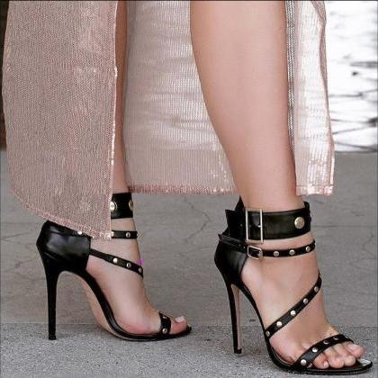 Rivets Straps Open Toe Stiletto Hig..