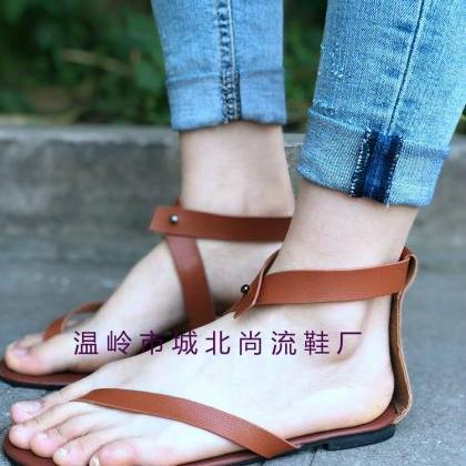 Simple Thong Ankle Wrap Women Flat ..