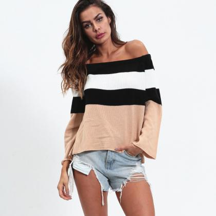 Off the Shoulder Stripes Long Trump..