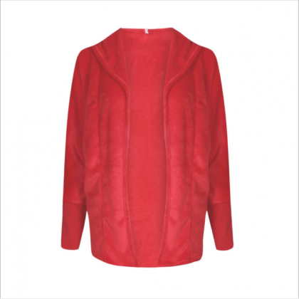 Pure Color Lapel Women Cardigan Hoo..