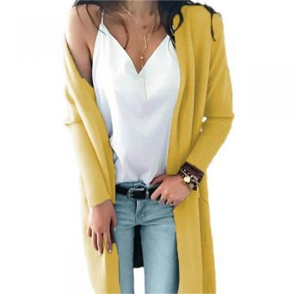 Pockets Oversized Long Cardigan Swe..