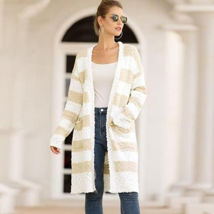 Striped Colorblock Open Front Cardi..