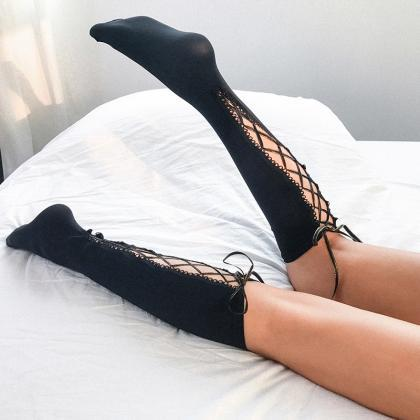 Sexy strap hollow stockings