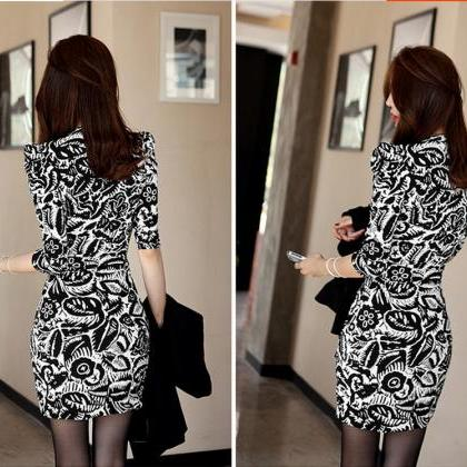 Sexy Print Bodycon Party Dresses (Q..