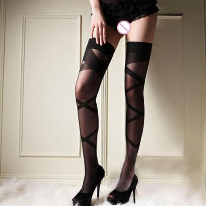1 Pair Women Sexy Lace Top Stocking..