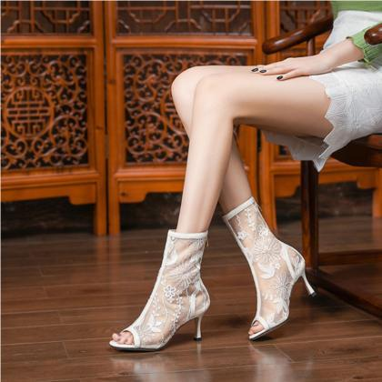 Summer Lace Mesh Peep Toe Low Heel ..