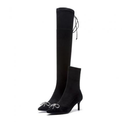 Black Point Toe Zipper High Heel Ov..