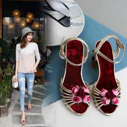 Leather Flower Cutout Open Toe High..