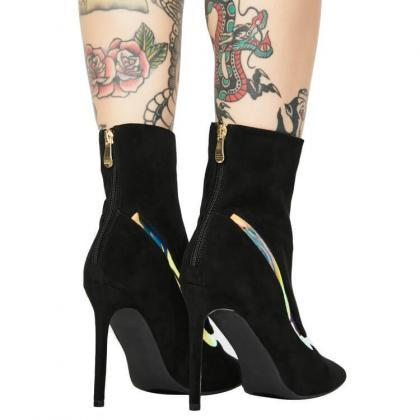 Black Suede Point Toe High Heel Str..