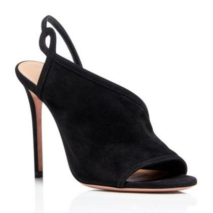 Summer Suede Peep Toe Plain High He..