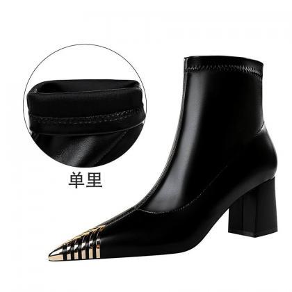 Winter Black PU Point Toe High Chun..